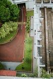 Flyg- sikt av gatadetaljen i Singapore Royaltyfri Fotografi