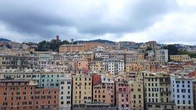 Flyg- sikt av GenoaColorful byggnader i Genua, Italien arkivfilmer