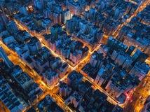 Flyg- sikt av genomskärningen i Hong Kong Downtown Finansiell dis arkivbilder