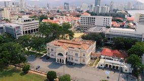 Flyg- sikt av Georgetown Penang, Malaysia stock video