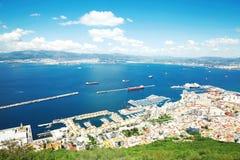 Flyg- sikt av Gibraltar, Förenade kungariket, stad Royaltyfri Fotografi