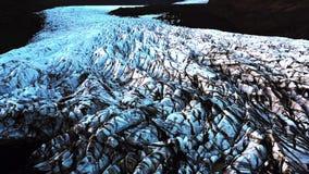 Flyg- sikt av glaciären i Island arkivfilmer
