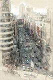 Flyg- sikt av Gran via i Madrid stock illustrationer