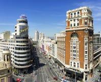 Flyg- sikt av Granen via, i Madrid, Spanien Royaltyfri Bild