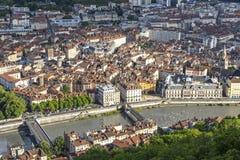 Flyg- sikt av Grenoble den gamla staden, Frankrike Royaltyfri Fotografi