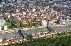 Flyg- sikt av Grenoble den gamla staden, Frankrike Royaltyfri Bild