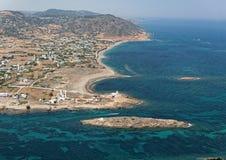 Flyg- sikt av Gyrismata, Skiros ö, Grekland Royaltyfri Bild