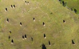 Flyg- sikt av höbuntar i Rumänien royaltyfri fotografi