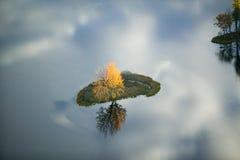 Flyg- sikt av höstträdet på dammet med reflexion nära Sanford, Maine Arkivfoton