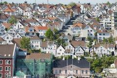Flyg- sikt av historiska byggnader för Stavanger stad i Stavanger, Norge Arkivbilder
