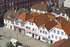 Flyg- sikt av historiska byggnader för Stavanger stad i Stavanger, Norge Royaltyfri Fotografi