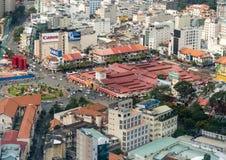 Flyg- sikt av Ho Chi Minh City tidigare Saigon Ben Thanh Market Royaltyfri Foto