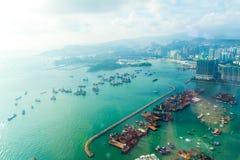 Flyg- sikt av Hong Kong Bay fotografering för bildbyråer