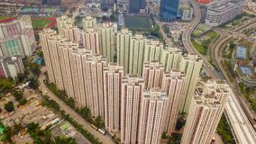 Flyg- sikt av Hong Kong Downtown, Republiken Kina Finansiell omr?des- och aff?rsmitt i smart stad i Asien B?sta sikt av royaltyfria foton
