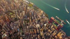 Flyg- sikt av Hong Kong Downtown, Republiken Kina Finansiell omr?des- och aff?rsmitt i smart stad i Asien B?sta sikt av fotografering för bildbyråer