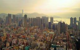 Flyg- sikt av Hong Kong Downtown, Republiken Kina Finansiell omr?des- och aff?rsmitt i smart stad i Asien B?sta sikt av royaltyfri foto
