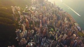 Flyg- sikt av Hong Kong Downtown, Republiken Kina Finansiell omr?des- och aff?rsmitt i smart stad i Asien B?sta sikt av arkivbilder