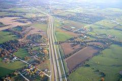 Flyg- sikt av huvudväg 70 i Missouri Fotografering för Bildbyråer