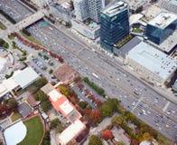 Flyg- sikt av i stadens centrum Atlanta royaltyfri foto