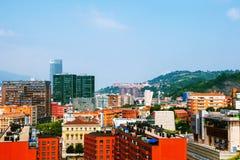 Flyg- sikt av i stadens centrum Bilbao, Spanien stad Royaltyfri Foto