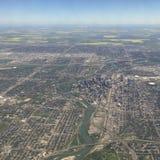 Flyg- sikt av i stadens centrum Calgary Alberta Royaltyfria Bilder