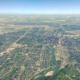 Flyg- sikt av i stadens centrum Calgary Alberta Arkivfoton