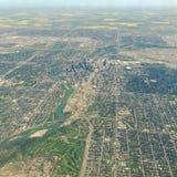 Flyg- sikt av i stadens centrum Calgary Alberta Fotografering för Bildbyråer