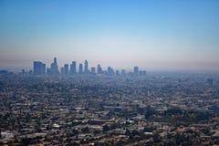 Flyg- sikt av i stadens centrum Los Angeles Arkivbild
