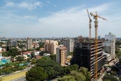 Flyg- sikt av i stadens centrum Maputo Arkivfoton