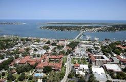 Flyg- sikt av i stadens centrum St Augustine royaltyfri fotografi