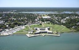 Flyg- sikt av i stadens centrum St Augustine fotografering för bildbyråer