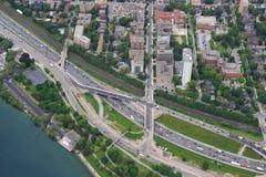 Flyg- sikt av i stadens centrum Toronto Arkivbilder