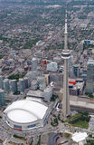 Flyg- sikt av i stadens centrum Toronto Arkivfoto
