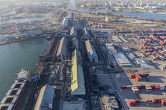 Flyg- sikt av industriell strand i Long Beach Kalifornien Arkivbilder