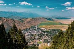 Flyg- sikt av Jackson, Wyoming arkivbild