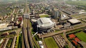 Flyg- sikt av Johan Cruijff Arena Stadion, Amsterdam lager videofilmer