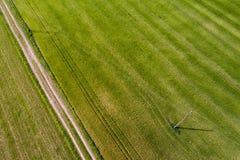Flyg- sikt av jordbruks- land Arkivfoton