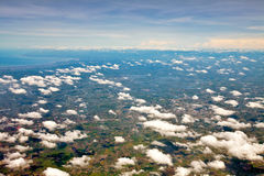 Flyg- sikt av jordbruksmark Arkivfoto