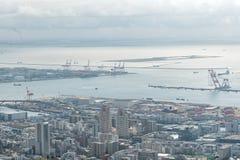 Flyg- sikt av Kobe stads- och Osaka fjärdområde Fotografering för Bildbyråer