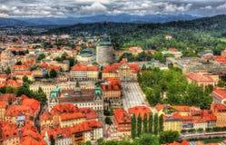 Flyg- sikt av kongressfyrkanten i Ljubljana, Slovenien Royaltyfria Foton