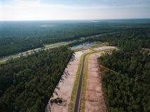 Flyg- sikt av konstruktionsplatsen i Florida Arkivfoto