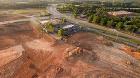 Flyg- sikt av konstruktionsplatsen i Georgia Arkivfoton