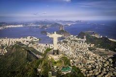 Flyg- sikt av Kristus, symbol av Rio de Janeiro Arkivfoton