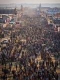 Flyg- sikt av Kumbh Mela 2013 i Allahabad, Indien Arkivfoton