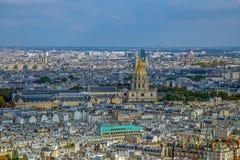 Flyg- sikt av kupoldes Invalids, Paris, Frankrike Royaltyfria Foton