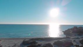 Flyg- sikt av kustlinjen med gr?na buskar, den sandiga stranden och sm? byggnader mot bl? klar himmel i solig dag konst stock video