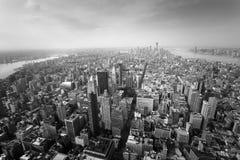 Flyg- sikt av lägre Manhatten, New York City arkivfoto