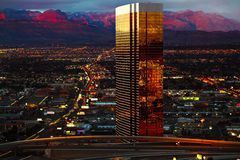 Flyg- sikt av Las Vegas på natten Fotografering för Bildbyråer