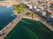 Flyg- sikt av Leman sjön - Genèvestad i Schweiz Royaltyfria Bilder