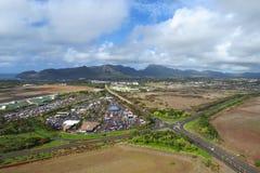 Flyg- sikt av Lihue, Kauai, Hawaii royaltyfri fotografi